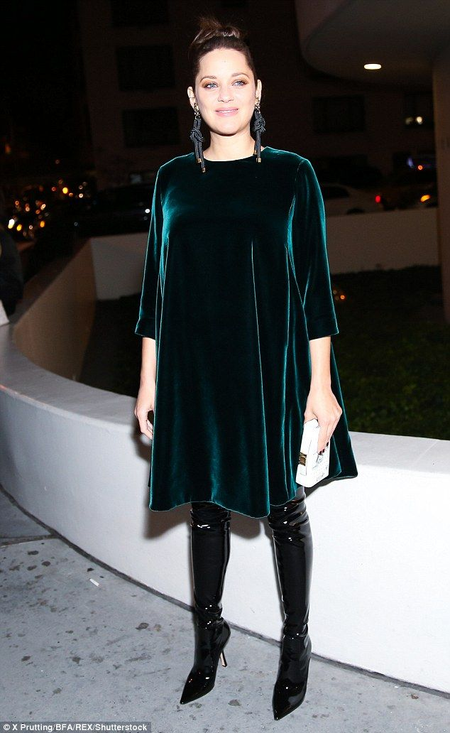 Marion Cotillard dresses her blossoming bump in a velvet smock dress | Daily Mail Online