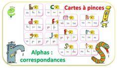 Cartes à pinces - Alphas et correspondances - jeu Plus