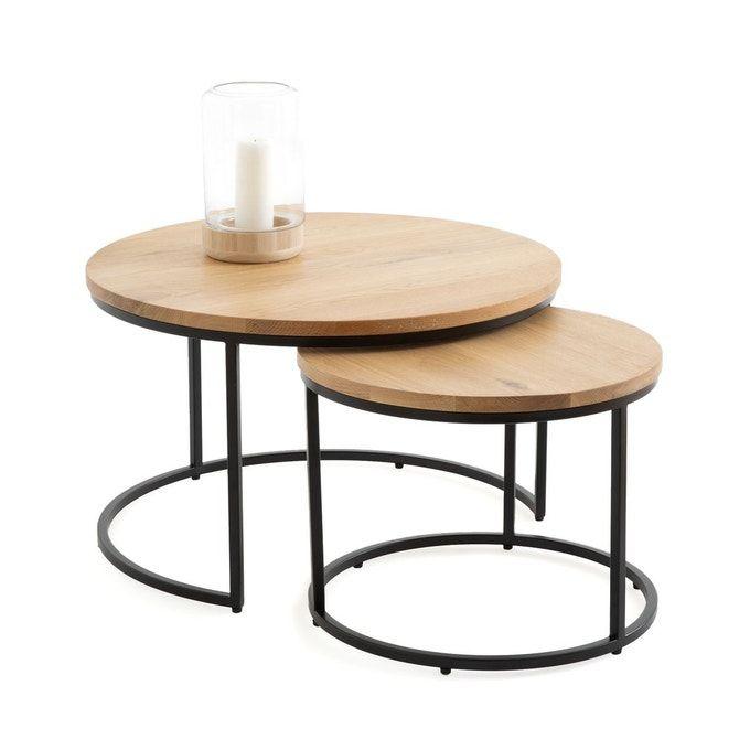 Lot De 2 Tables Basses Gigognes En Chene Vova En 2020 Table Basse Gigogne Table Basse Table Basse Rotin