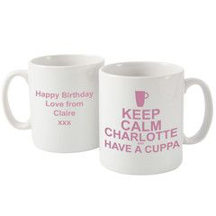 Keep Calm & Have a Cuppa Pink Mug - We have many designs and sayings in our Keep Calm Mugs.  Add a name and message.  Free UK Delivery (scheduled via http://www.tailwindapp.com?utm_source=pinterest&utm_medium=twpin&utm_content=post31954228&utm_campaign=scheduler_attribution)