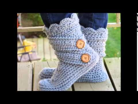 ▶ Woman's Slipper Boots Crochet Pattern, Classic Snow Boots - YouTube