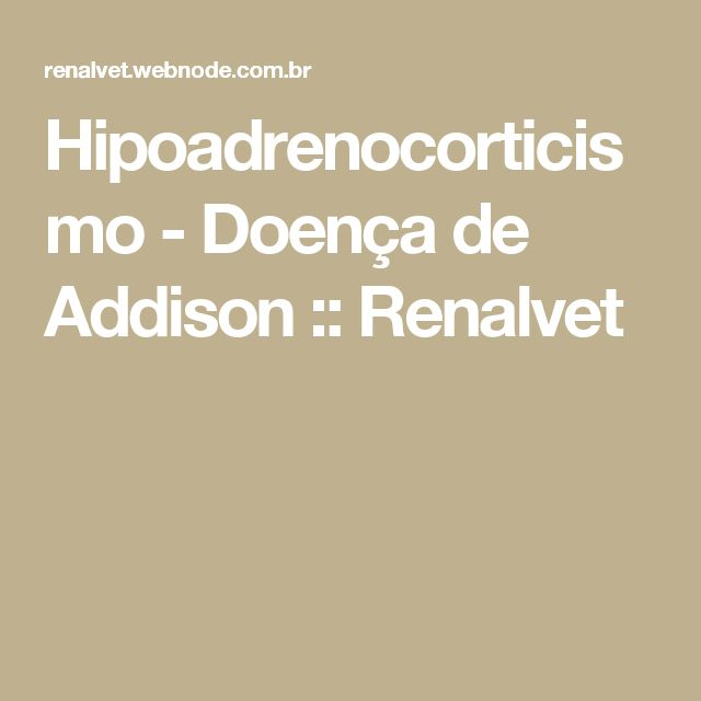 Hipoadrenocorticismo - Doença de Addison  :: Renalvet