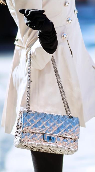 Chanel silver handbag