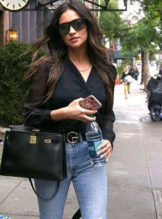 海外セレブスナップ | Celebrity Style: 【シェイ・ミッチェル】真似しやすそうな黒ブラウス×デニムのレディなデニムスタイルでお出かけ!
