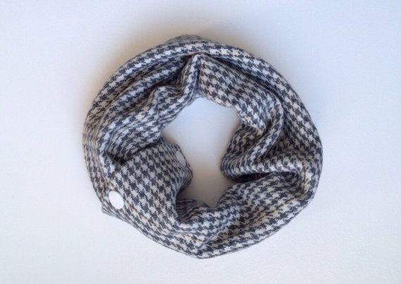 Baby or Toddler Cowl - grey & yellow houndstooth OOAK on Etsy, $12.00 CAD