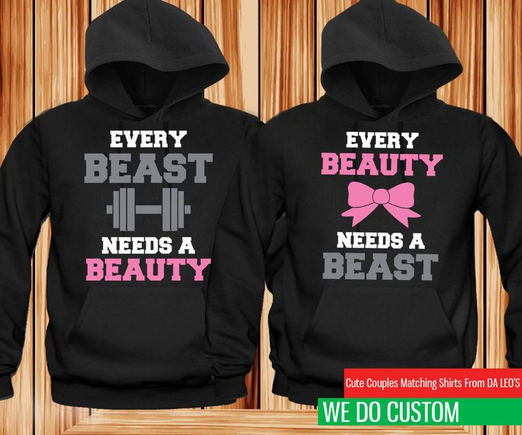 Matching Couple Hoodies - Beauty and Beast Need Each Other Couple Hoodie #JERZEES #HoodedSweatshirt