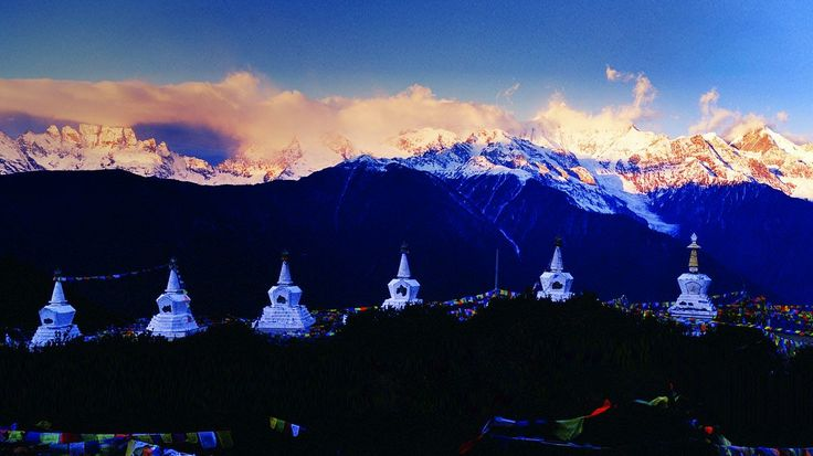 Stupas representing 13 peaks of Meili Snow Mountain, DiQing Tibetan Autonomous Prefecture, Yunnan Province, China (© TAO Images Limited/Getty Images)