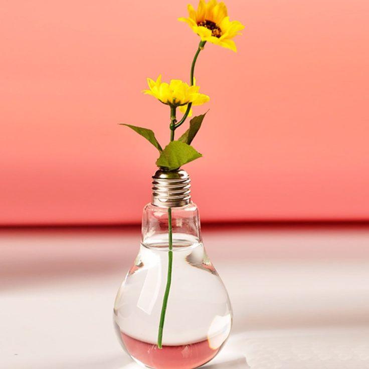 Amazon.com: MEXUD Light Bulb Hanging Glass Flower Vase Pot