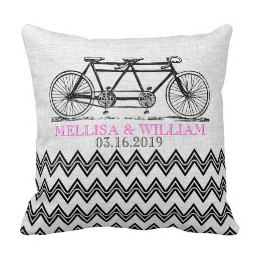 Retro Tandem Bicycle Zigzag Chevron Wedding Gift Pillow