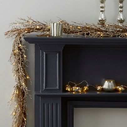 The White Company | Beaded Garland. Our most glamorous garland yet, each genuine branch has been hand-beaded by expert craftsmen. To create its frosted, Wintry look, lights are also dotted in between the branches and give the wreath lots of warmth and sparkle. Shopping from the UK? -> http://www.thewhitecompany.com/Beaded-Garland-Pre-lit/p/WGHUG?swatch=Silver