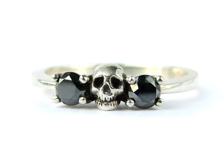 RESERVED FOR ERIKA Payment Plan Total Price 240 Euro Sterling Skull Ring with Lab Created Diamonds Size 6.75 (60.00 EUR) by KipkalinkaJewels