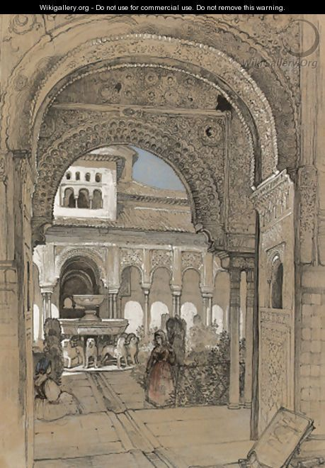 The Court of the Lions from the Hall of Justice, Granada - John Frederick Lewis