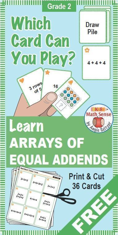 This set of 36 printable cards for Grade 2 will help students learn about arrays, important for multiplication in Grade 3. The set comes with instructions for a matching activity and four fun games to play. These math cards are perfect to use in a math center. ~by Angie Seltzer