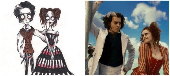 Суини Тодд и Миссис Ловетт из фильма «Суини Тодд, демон-парикмахер с Флит-стрит».