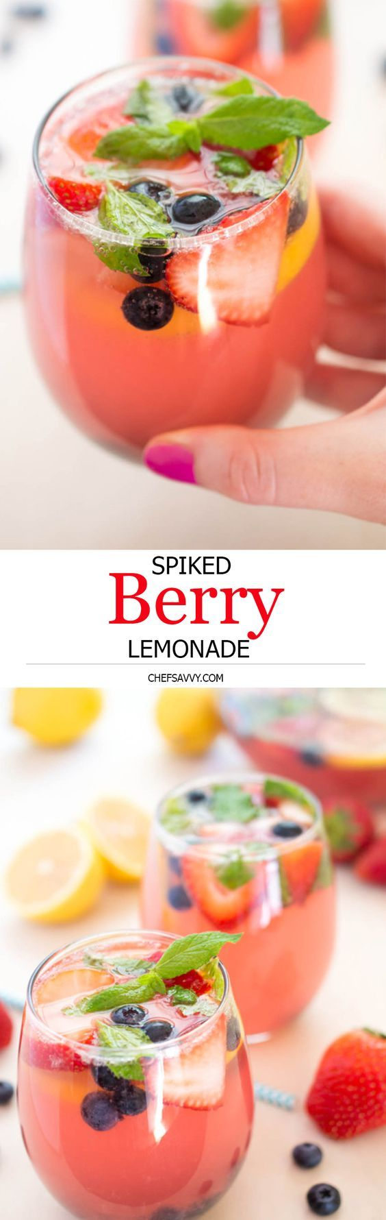 Colorful Spiked Berry Lemonade made with fresh strawberries, blueberries and mint. Vodka and triple sec are added for a delicious spin on the traditional lemonade! | chefsavvy.com #recipe #drink #cocktail #drink #lemonade #fruit