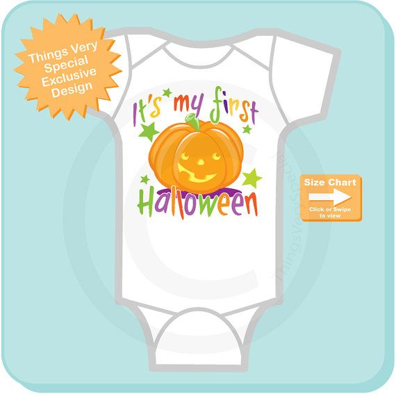 """Baby's first Halloween is a tough one, what do you dress them in when it's too hot to wear their cute little costume that took forever to find? This cute Onesie or tee shirt has colorful letters that say """"It's my first Halloween"""" with a super cute little pumpkin."""
