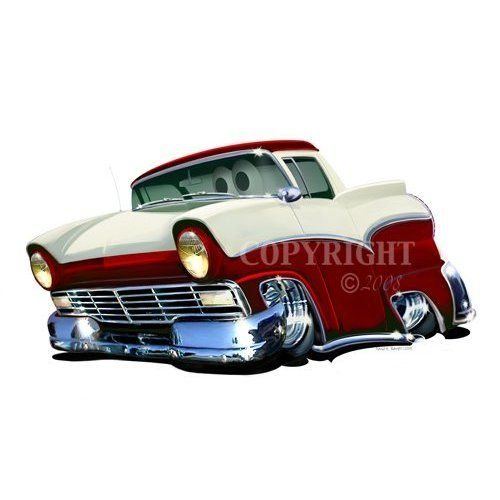 Log Truck Cartoon | 24 DB 1957 Ford Ranchero Antique Truck Cartoon Car Wall