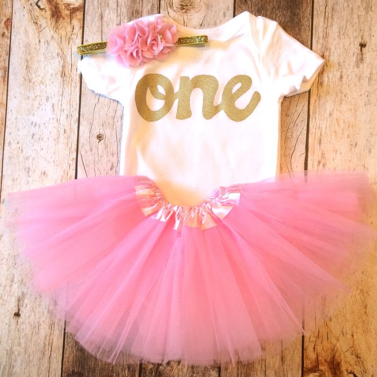 Petal pink tutu with short sleeve gold glitter one onesie- girls 1st Birthday outfit Valentine's Day girls first birthday outfit.