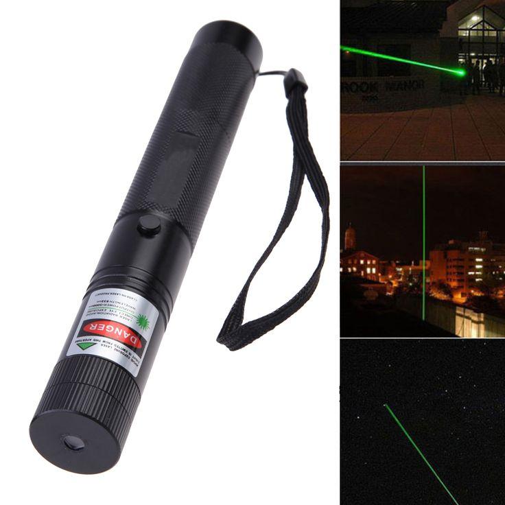 Potente Láser Verde Pluma Puntero Con Casquillo de la Estrella + 18650 Batería + Cargador Negro SS