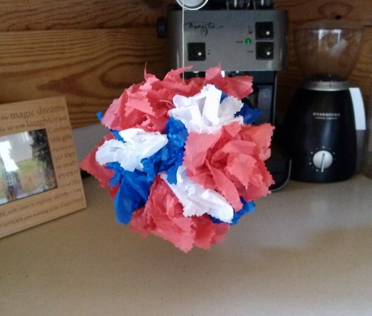 So simple & fun to make with the kiddos.  1 whiffle ball, squares of tissue paper (I cut mine out with decorative scissors), stuff & fluff; then hang with twine.