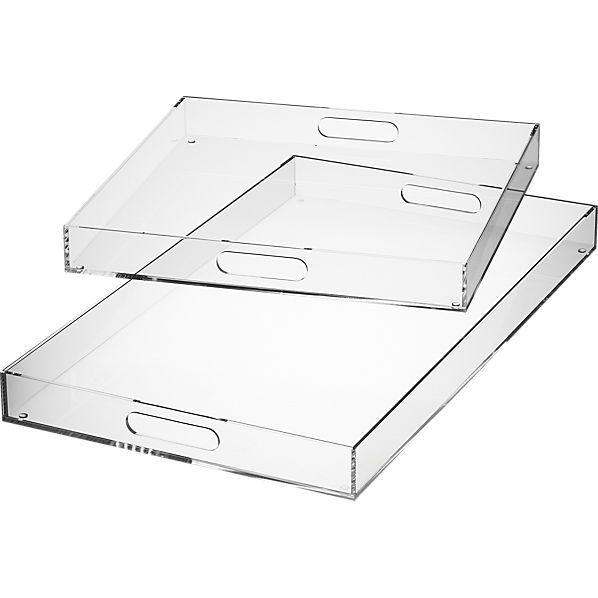 "cb2 format clear tray $50. 14""W x 24.5""D x 2""H"