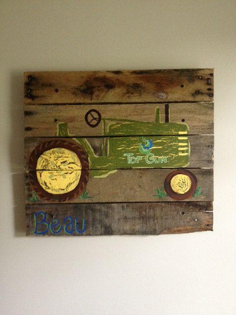 Tractor,Boys Rustic Wall Art,Old Tractor,Farm,Barn,Bedroom,Home,Decor,Boys Room,Wood pallet art,wood plank,John Deere,boy truck art,