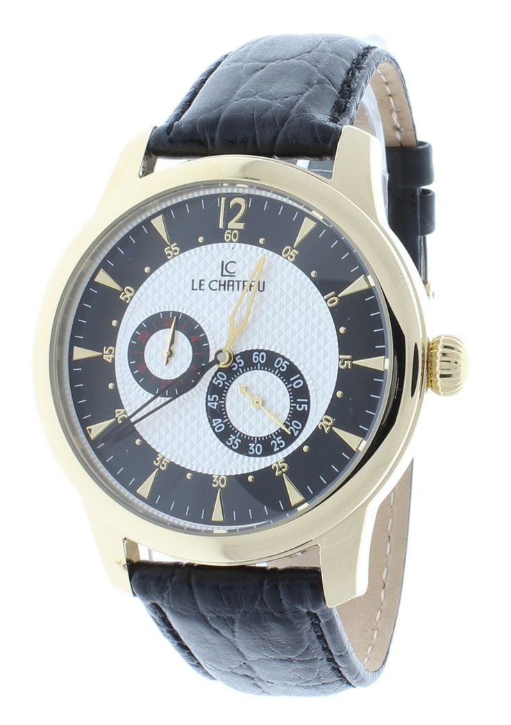 Le Chateau 5429-BK Men's Automatic Watch GMT Black Leather Strap Gold-Tone Stainless Steel Case