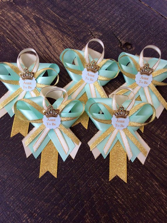 12 guest pins for Baby shower Teal baby by Marshmallowfavors