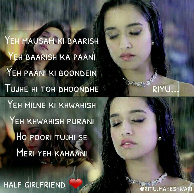 Punjabi Quotes Hindi Quotes Song Quotes Song Lyrics Qoutes Bollywood Quotes Bollywood Songs Half Girlfriend Shraddha Kapoor