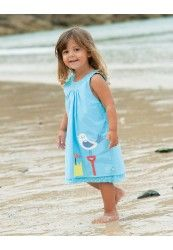 Pinafore blue reversible dress for girls