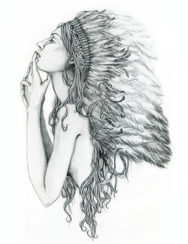Headdress Girl Tattoos Pinterest Love This Native