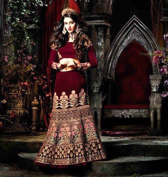 maroon lehnga in velvt  PURPLE DESIGNER INDIAN HEAVY VELVET GHAGRA CHOLI FOR WEDDING RECEPTION