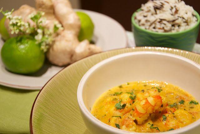 pimientadulce: Gambas al curry con leche de coco y mango (Panang Goong)