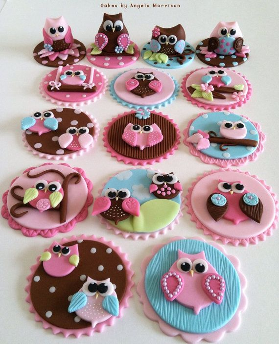 Set of (12) owl cupcake toppers