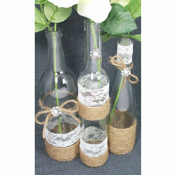 SET(3) Decorated Wine Bottle Centerpiece. Rustic Chic Ivory, Silver, Jute Twine. Jute Wrapped Bottles. Rustic Wedding Centerpiece Idea. on Etsy, $42.00