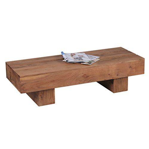 WOHNLING Couchtisch Massiv Holz Akazie 120 Cm Breit Wohnzimmer Tisch Design Dunkel Braun