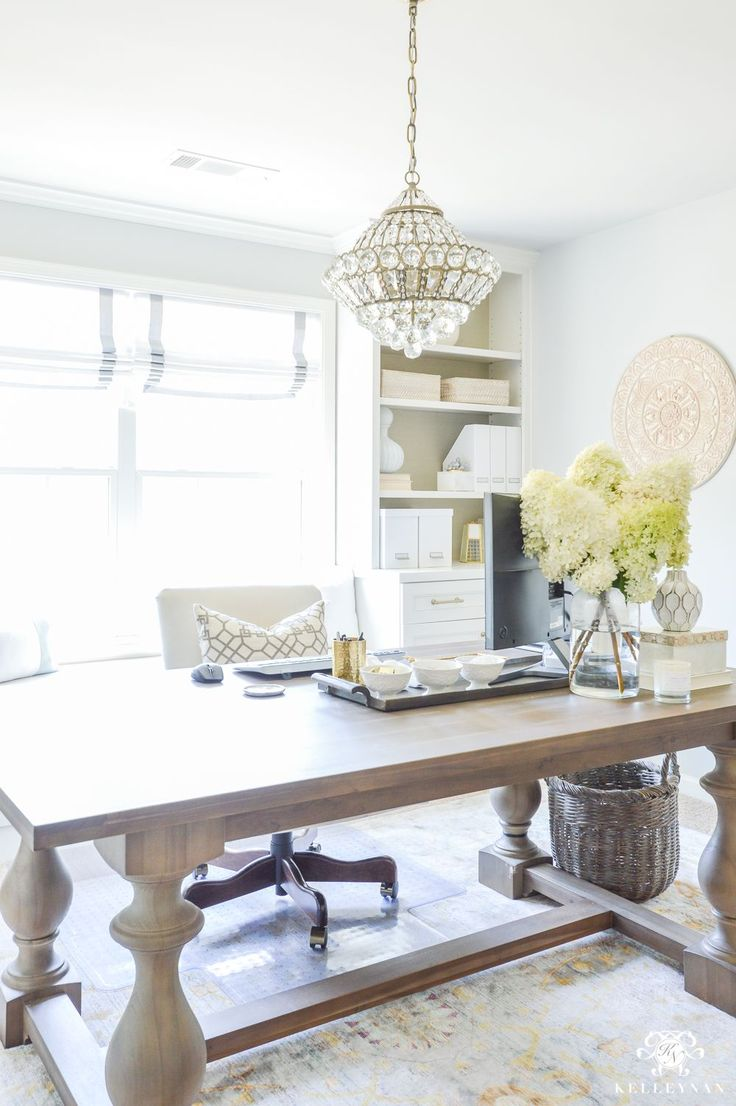 How to Hide Computer Cords with a Desk in the Center of the Room- Restoration Hardware table as desk