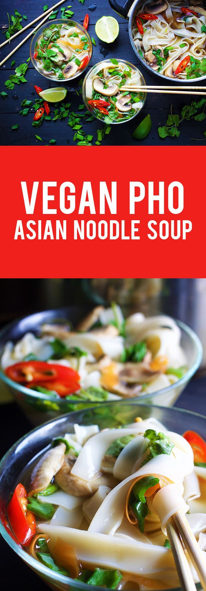 Here's a simple, yet filling vegan Pho soup (vegan Asian noodle soup) recipe that bursts with flavors and has a subtle spicy taste. It's similar to the popular Vietnamese Pho soup recipe, turned vegan. #pho #asian #soup