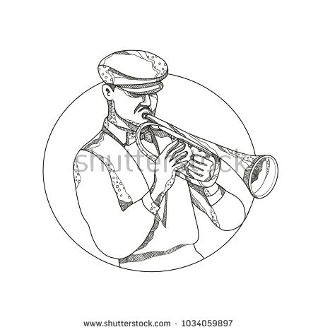Doodle art illustration of a classical jazz musician playing a trumpet wearing a flat cap or cabbie cap set inside circle in black and white done in mandala style.  #trumpeter #doodle #illustrtation