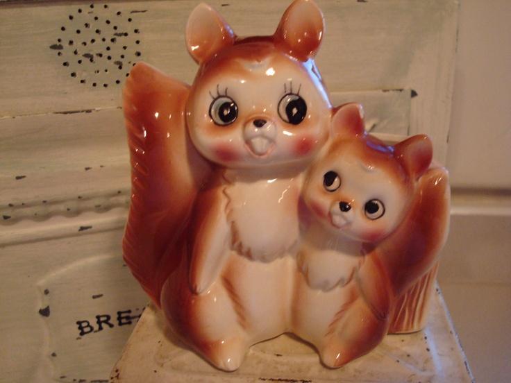Vintage Planter Storage Squirrels Animal Figurine