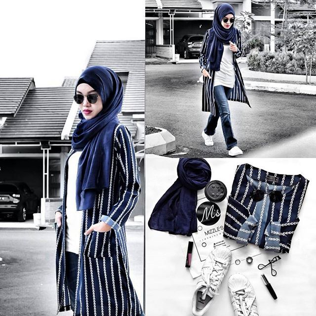 Jeans, navy scarf, white shirt, black and white cardigan? White sneakers, red lip