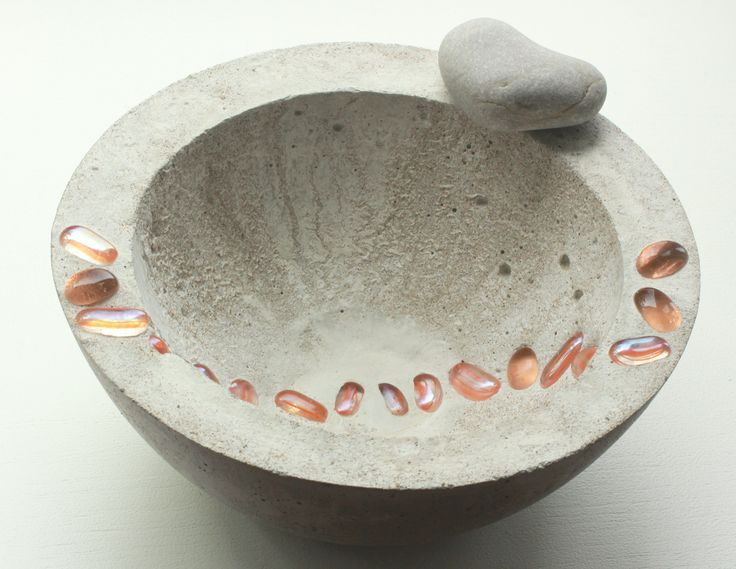 Cement Bowl with glass beads. More