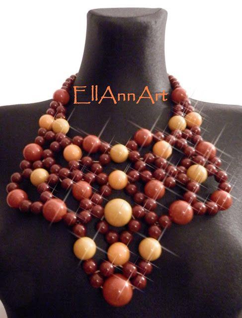 EllAnnArt - Róg obfitości - naszyjnik z korali i nici lnianej