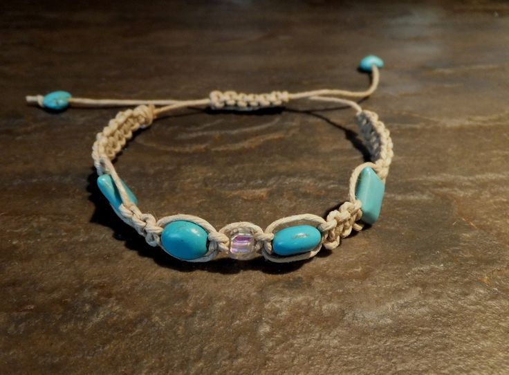 COLORFUL CANARY: DIY Hemp Turquoise & Crystal Cube Macarme Bracelet with Sliding Clasp (Tutorial)