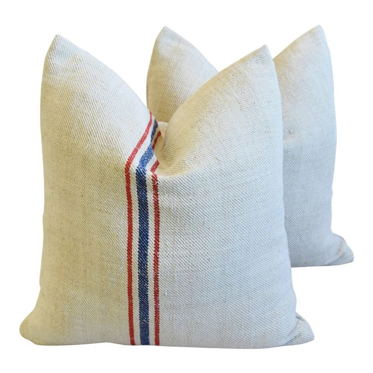 French Red & Blue Grain Sack Striped Feather/Down Pillows 22″ Square – Pair
