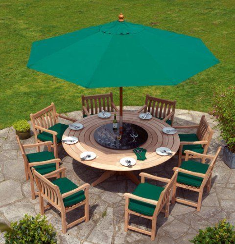 Mahogany Royal 200cm Pedestal Round Garden Table   This classically styled and beautifully made piece of furniture comfortably seats eight people. It has a pre-drilled parasol hole and makes a great dining set with chairs from the Alexander Rose Mahogany range. With the tablet