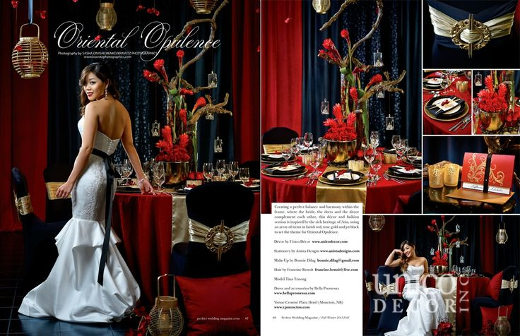 Red, black & gold wedding decor. Oriental Opulence! Featured in Perfect Wedding Magazine. Styled by Unico Decor Inc