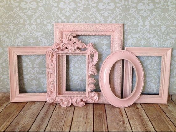 Vintage Style, Shabby Chic Picture Frames, pink nursery  Love these vintage style and detailed rectangular frames. Richly coated in a pale pink