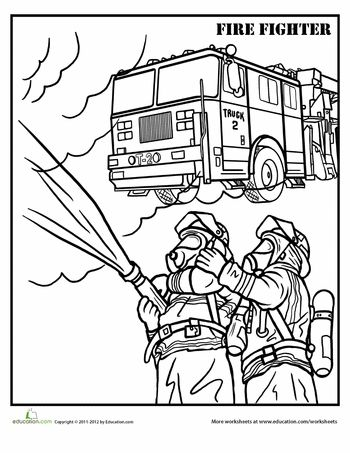 Worksheets: Firefighter Coloring Page