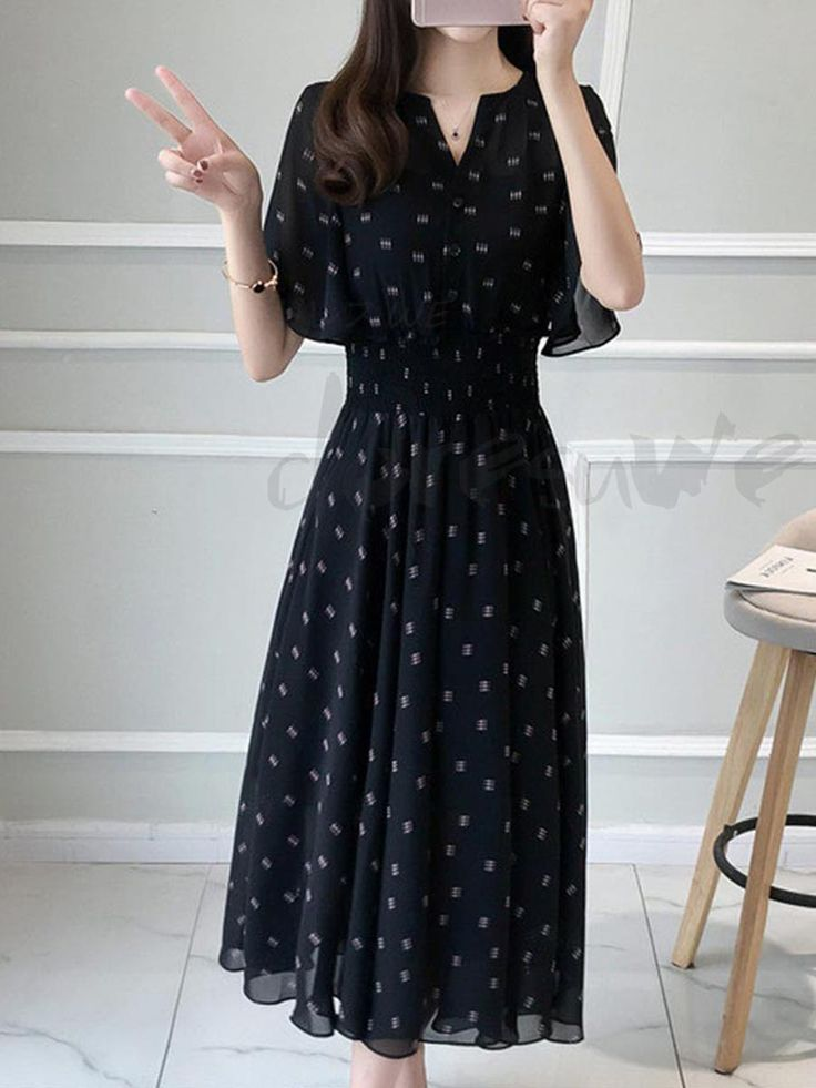 V Neck Flare Sleeve West Aperture Small Flower Pattern Temporary Maxi One Piece 12883663 - Date dresses - Doresuwe.Com